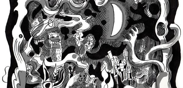 夜の森のカーテン