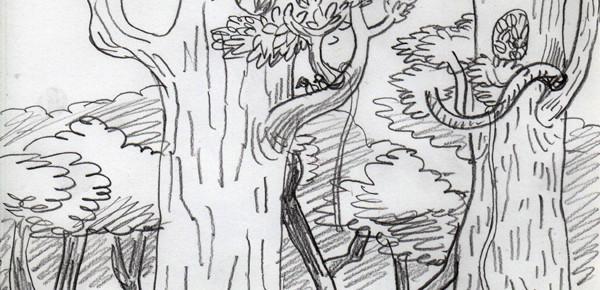 クスノキの花が散る