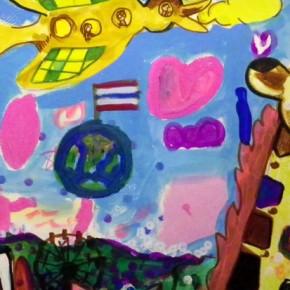 JICAの方が描いてくれたplanet of EARTHとタイランド国旗
