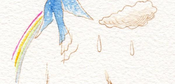 虹のどこか彼方へ、青い鳥が飛んでいく